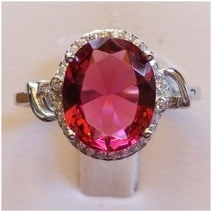 Jewelry - 3ct Ruby & White Sapphire Ring Size 7